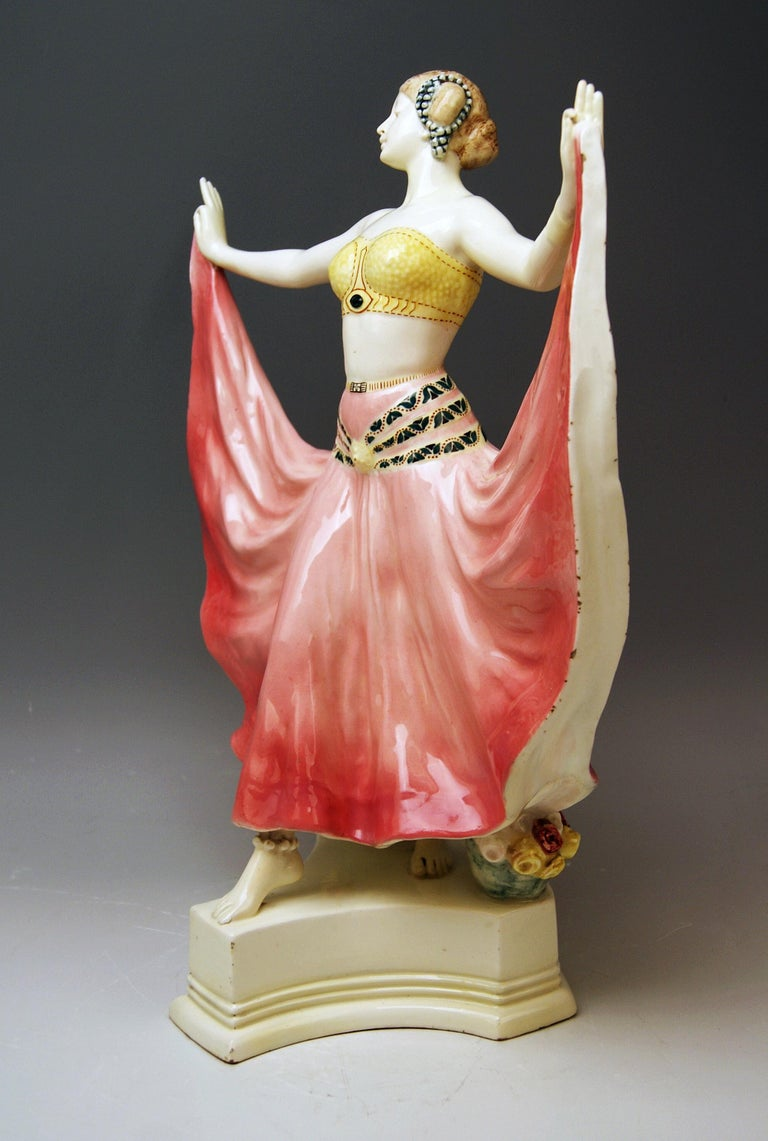 Art Nouveau Goldscheider Vienna Lady Dancer Ruth, Rosé Model 4141 Early Made circa 1912-1913 For Sale