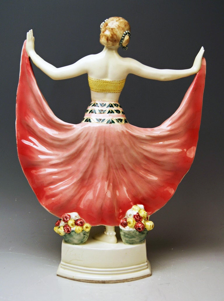 Austrian Goldscheider Vienna Lady Dancer Ruth, Rosé Model 4141 Early Made circa 1912-1913 For Sale