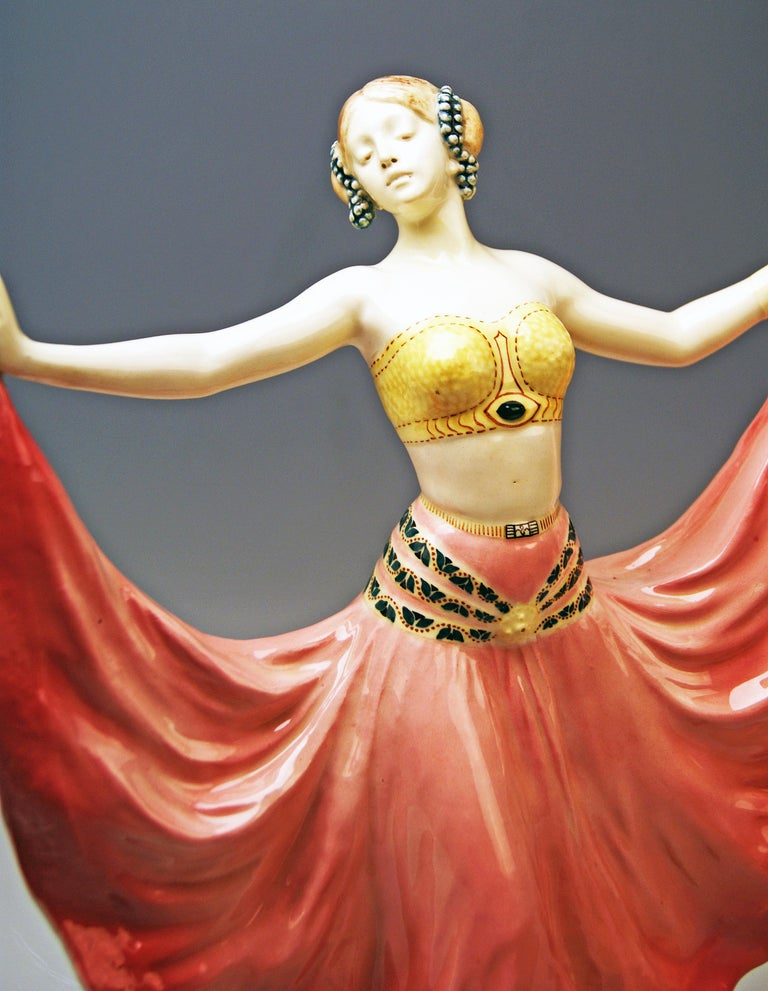 Hand-Painted Goldscheider Vienna Lady Dancer Ruth, Rosé Model 4141 Early Made circa 1912-1913 For Sale