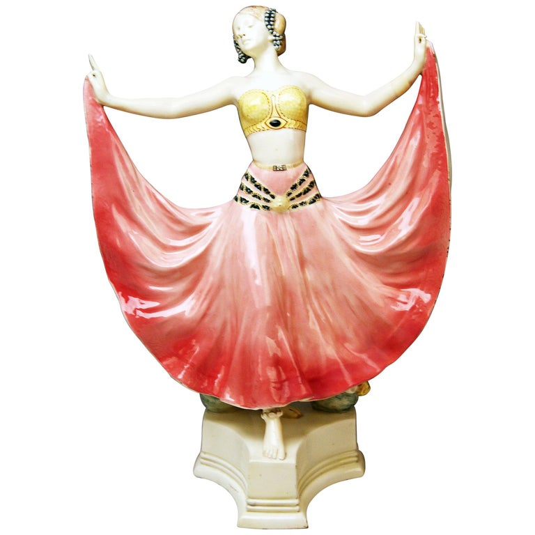 Goldscheider Vienna Lady Dancer Ruth, Rosé Model 4141 Early Made circa 1912-1913 For Sale