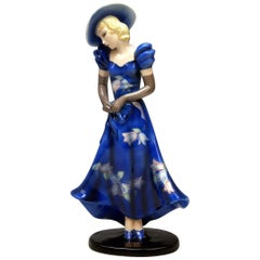 Goldscheider Vienna Lady with Blue Dress Hat Gloves Model 7275 Made, 1935-1937