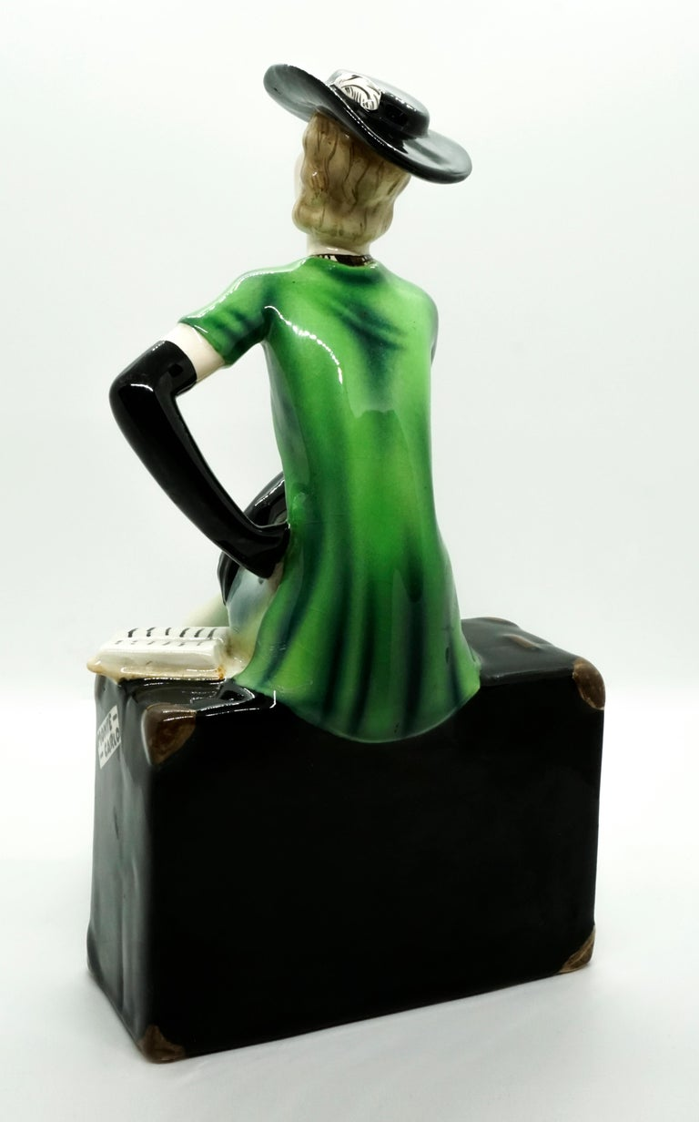 Austrian Goldscheider Vienna Lady with Hat Sitting on a Suitcase by Stephan Dakon, 1935 For Sale
