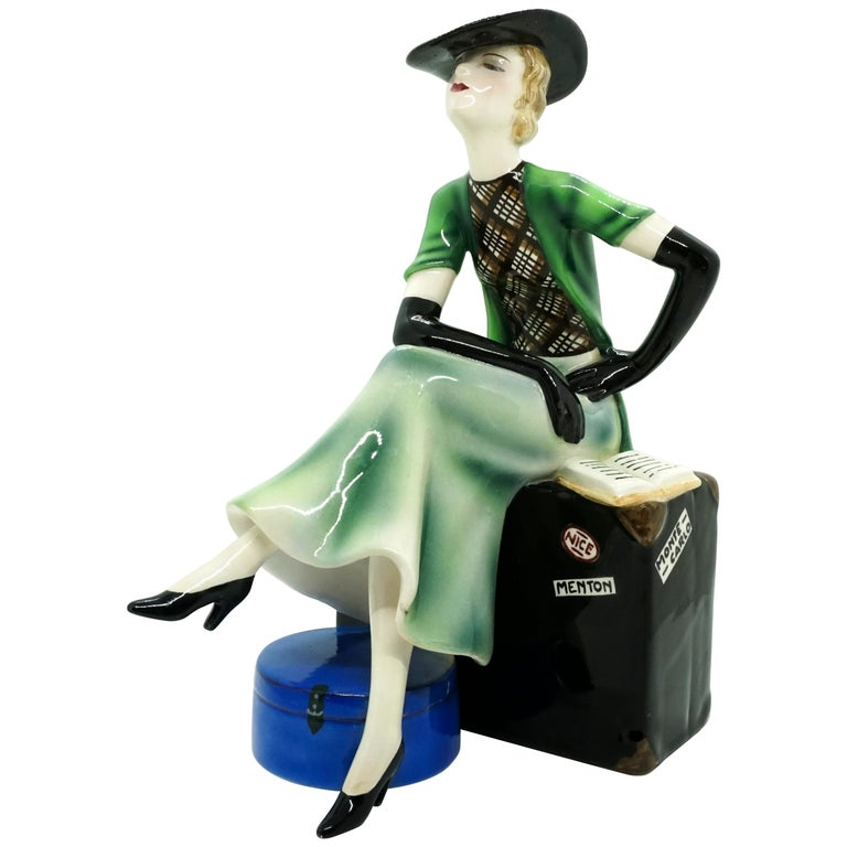 Goldscheider Vienna Lady with Hat Sitting on a Suitcase by Stephan Dakon, 1935 For Sale