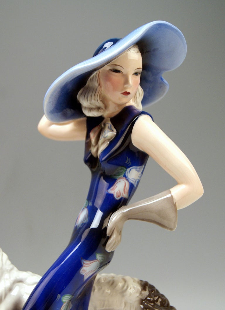Goldscheider Vienna Lady with Russian Greyhound Dog Model 7367 Claire Weiss 1936 For Sale 2