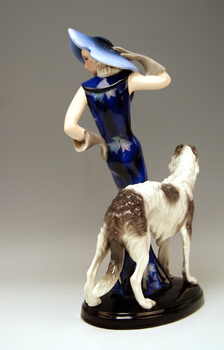 Art Deco Goldscheider Vienna Lady with Russian Greyhound Dog Model 7367 Claire Weiss 1936 For Sale