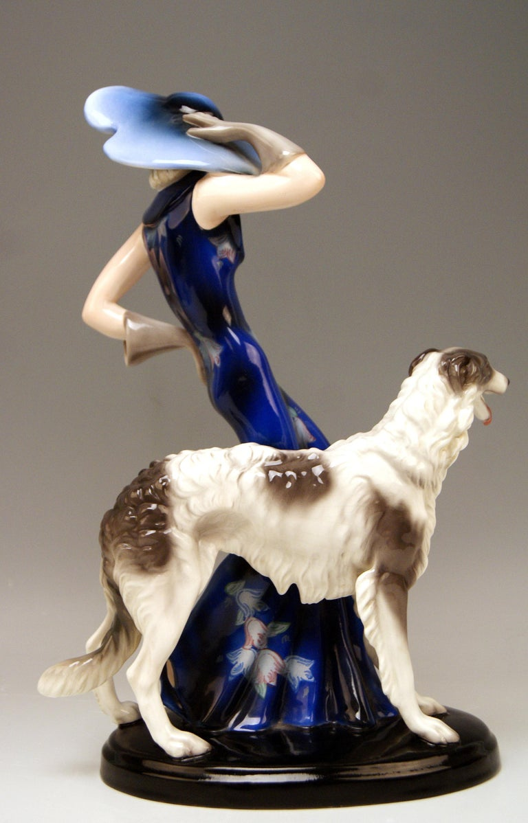 Austrian Goldscheider Vienna Lady with Russian Greyhound Dog Model 7367 Claire Weiss 1936 For Sale