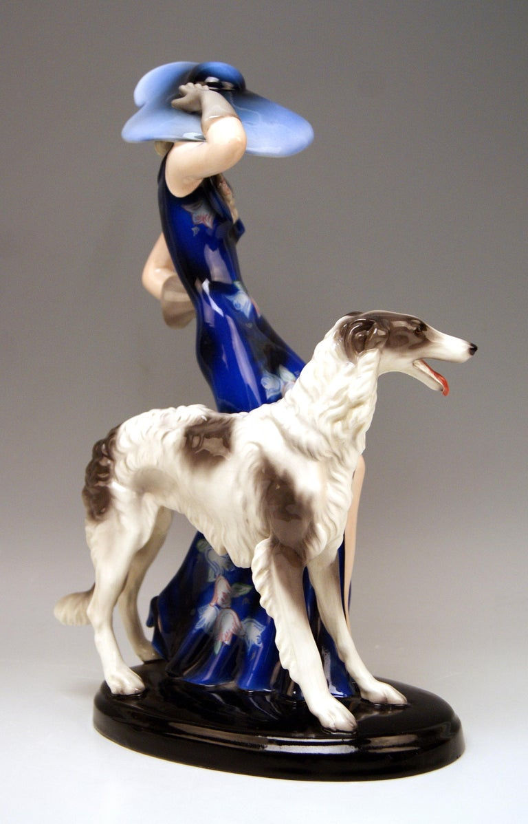 Painted Goldscheider Vienna Lady with Russian Greyhound Dog Model 7367 Claire Weiss 1936 For Sale