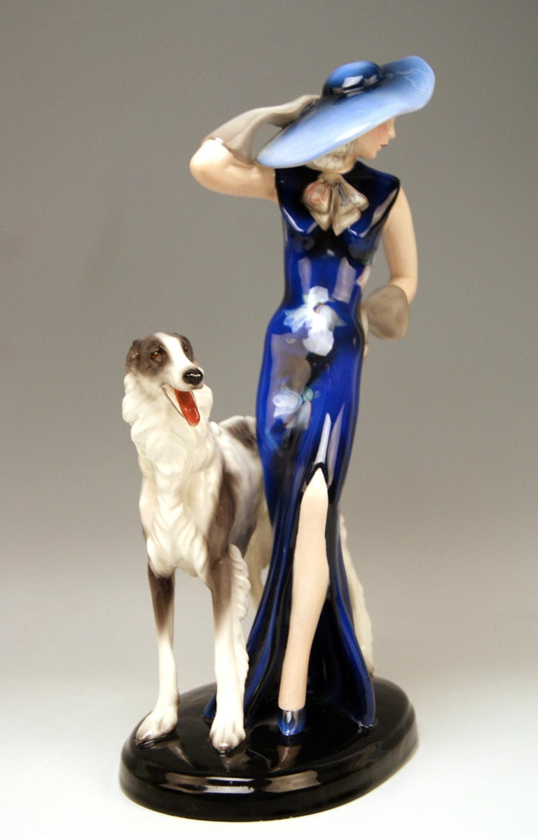 Goldscheider Vienna Lady with Russian Greyhound Dog Model 7367 Claire Weiss 1936 In Excellent Condition For Sale In Vienna, AT