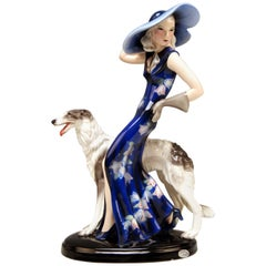 Goldscheider Vienna Lady with Russian Greyhound Dog Model 7367 Claire Weiss 1936
