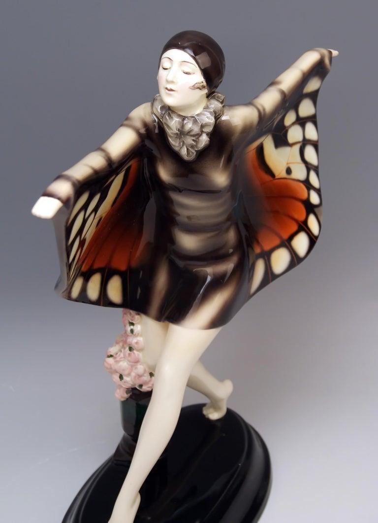Painted Goldscheider Vienna Lorenzl Dancing Butterfly Lady Captured Bird Nr. 5960, 1930s For Sale