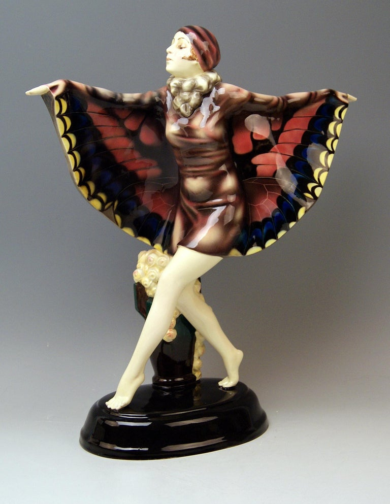 Goldscheider Vienna gorgeous dancingy lady figurine: The Captured Bird  Designed by Josef Lorenzl (1892-1950) / one of the most important designers having been active for Goldscheider manufactory in period of 1920-1940 / designed1922(=quite