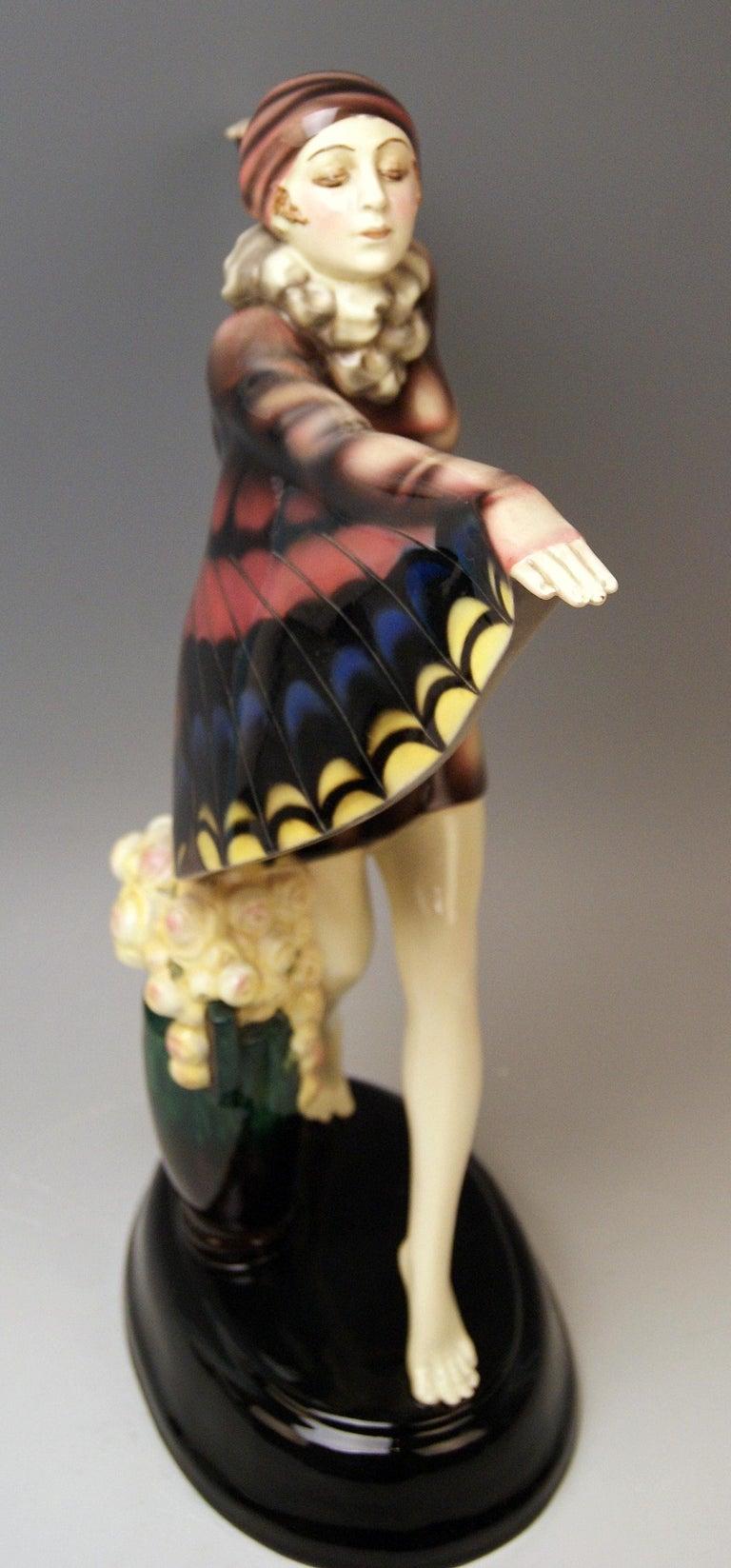Painted Goldscheider Vienna Lorenzl Dancing Butterfly Lady Captured Bird Nr.5230 For Sale
