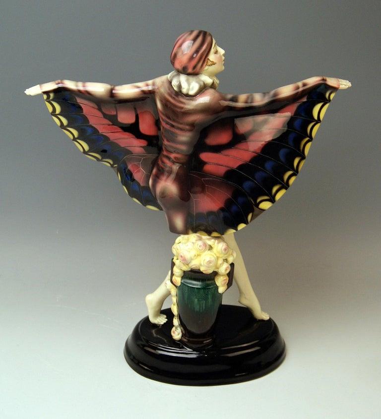 Ceramic Goldscheider Vienna Lorenzl Dancing Butterfly Lady Captured Bird Nr.5230 For Sale