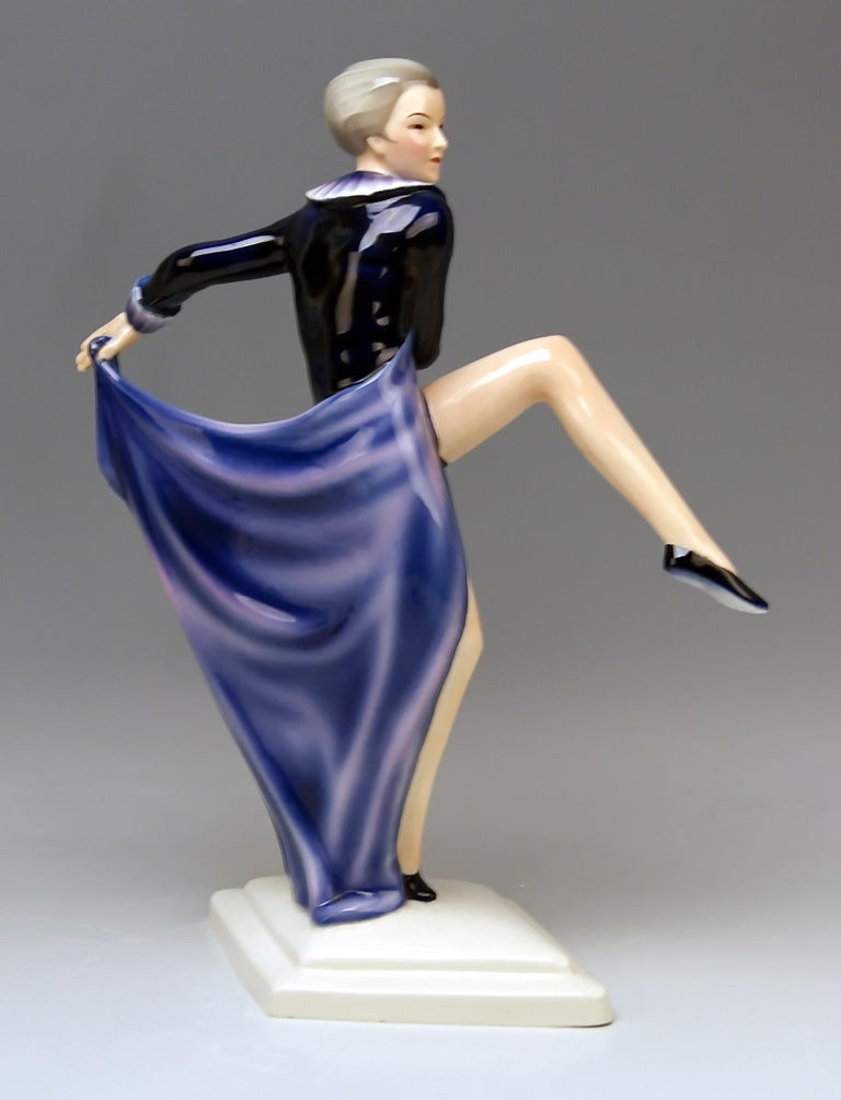 Art Deco Goldscheider Vienna Lorenzl Lady Dancer With Arms Rear-Facing Model 6003 1930-35 For Sale