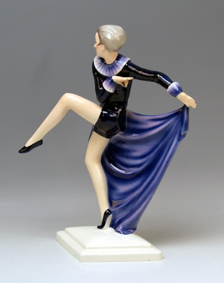 Painted Goldscheider Vienna Lorenzl Lady Dancer With Arms Rear-Facing Model 6003 1930-35 For Sale