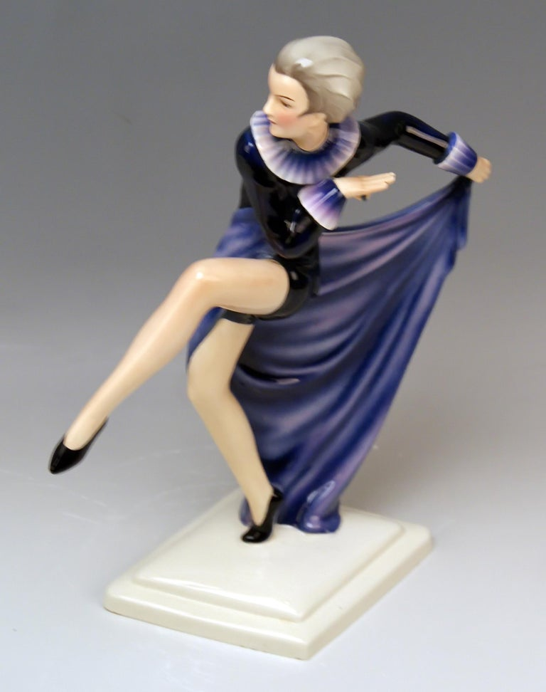 Goldscheider Vienna Lorenzl Lady Dancer With Arms Rear-Facing Model 6003 1930-35 For Sale 1