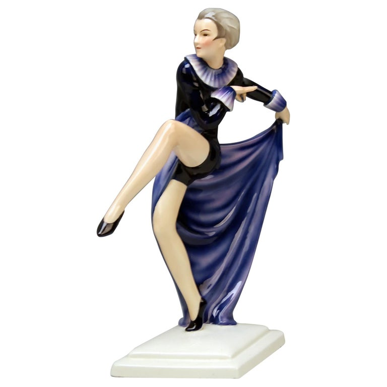Goldscheider Vienna Lorenzl Lady Dancer With Arms Rear-Facing Model 6003 1930-35 For Sale