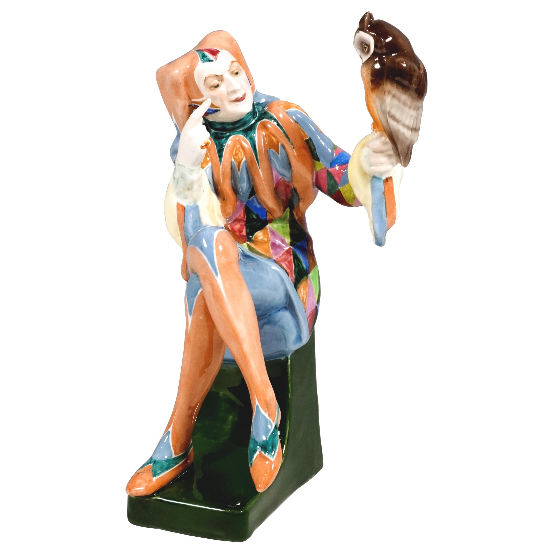 Goldscheider Vienna 'Owlglass' Jester with Owl by Josef Lorenzl, c. 1925-30