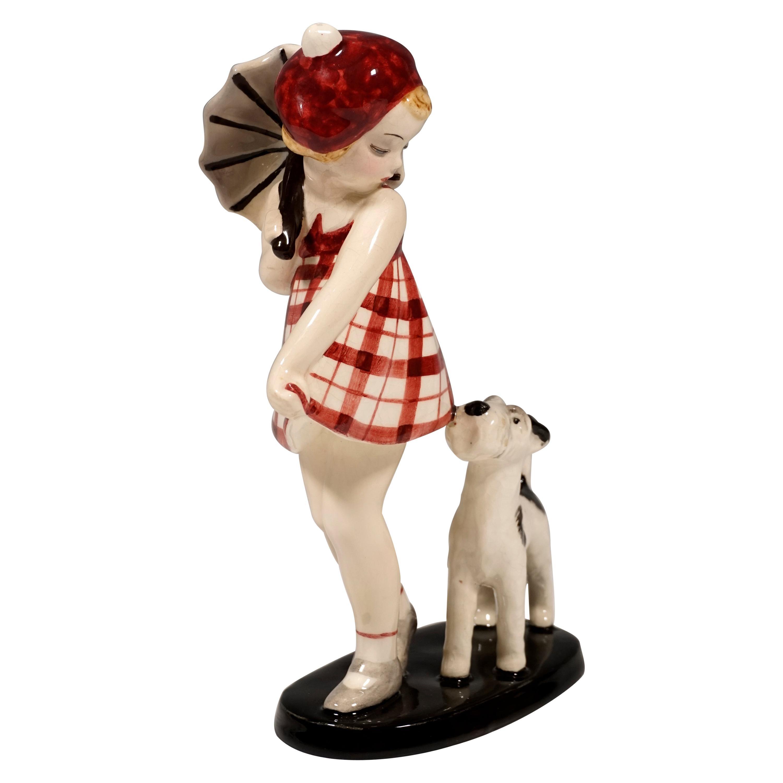 Goldscheider Vienna Scary Girl with Fox Terrier by Claire Weiss, circa 1935