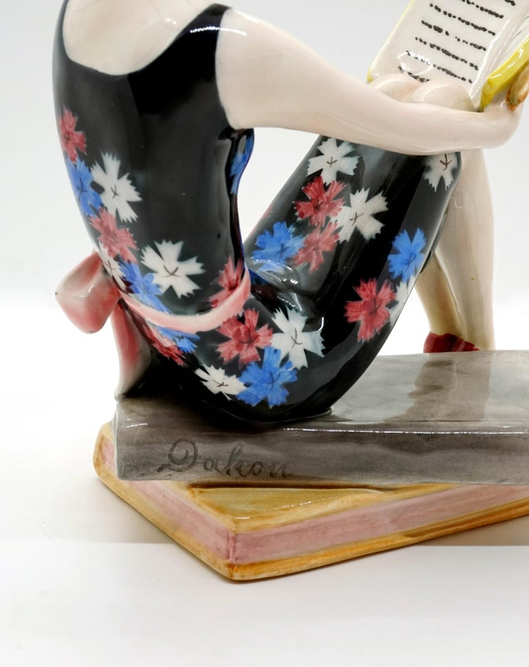 Mid-20th Century Goldscheider Vienna Seated Reading Young Lady on Book Base by Dakon, circa 1936