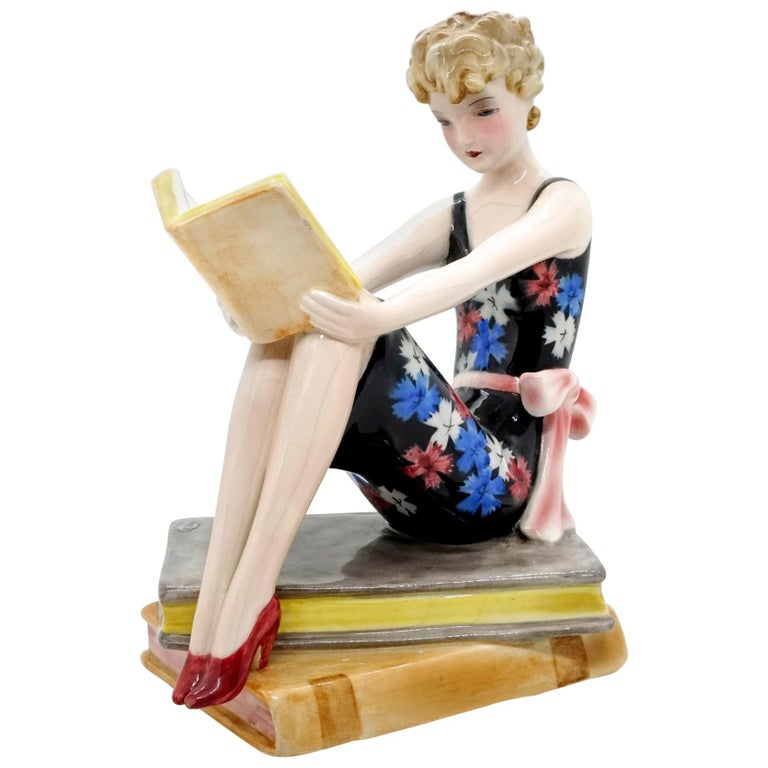 Goldscheider Vienna Seated Reading Young Lady on Book Base by Dakon, circa 1936