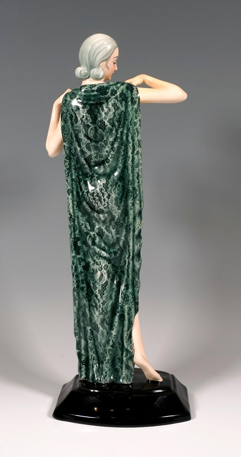 Art Deco Goldscheider Vienna Standing Nude with Large Cloth by Josef Lorenzl, circa 1935 For Sale