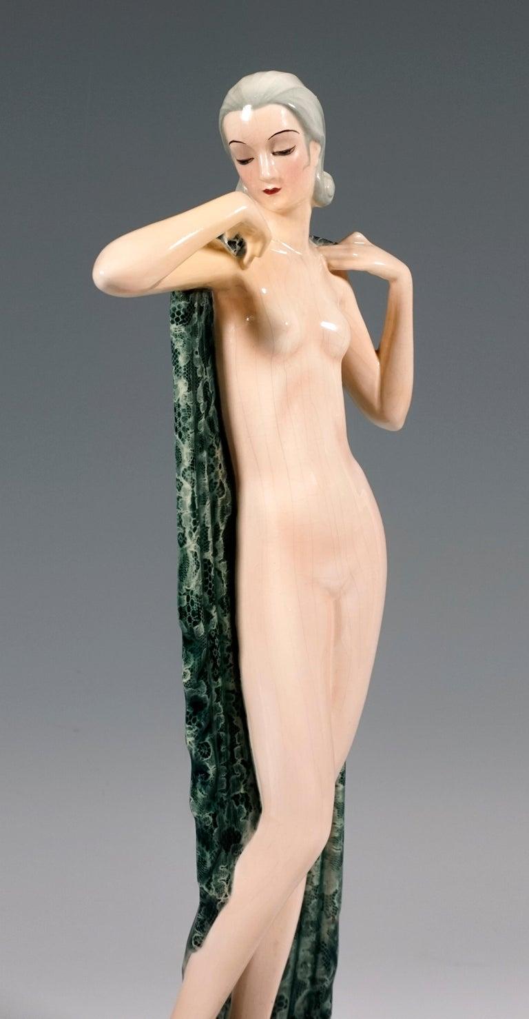 Austrian Goldscheider Vienna Standing Nude with Large Cloth by Josef Lorenzl, circa 1935 For Sale