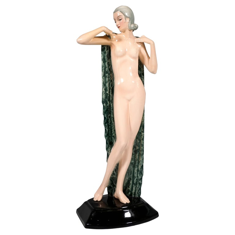 Goldscheider Vienna Standing Nude with Large Cloth by Josef Lorenzl, circa 1935 For Sale