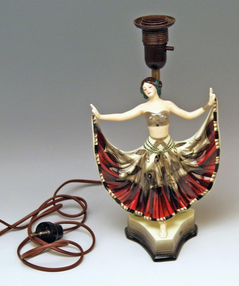 Goldscheider Vienna gorgeous table lamp with lady figurine called ruth