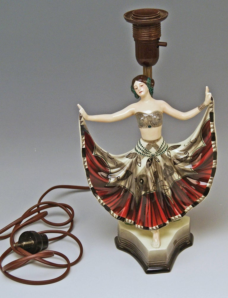 Art Deco Goldscheider Vienna Table Lamp Lady Dancer Ruth Figurine Rosé Model 5171 For Sale