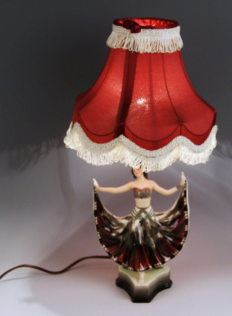 Painted Goldscheider Vienna Table Lamp Lady Dancer Ruth Figurine Rosé Model 5171 For Sale