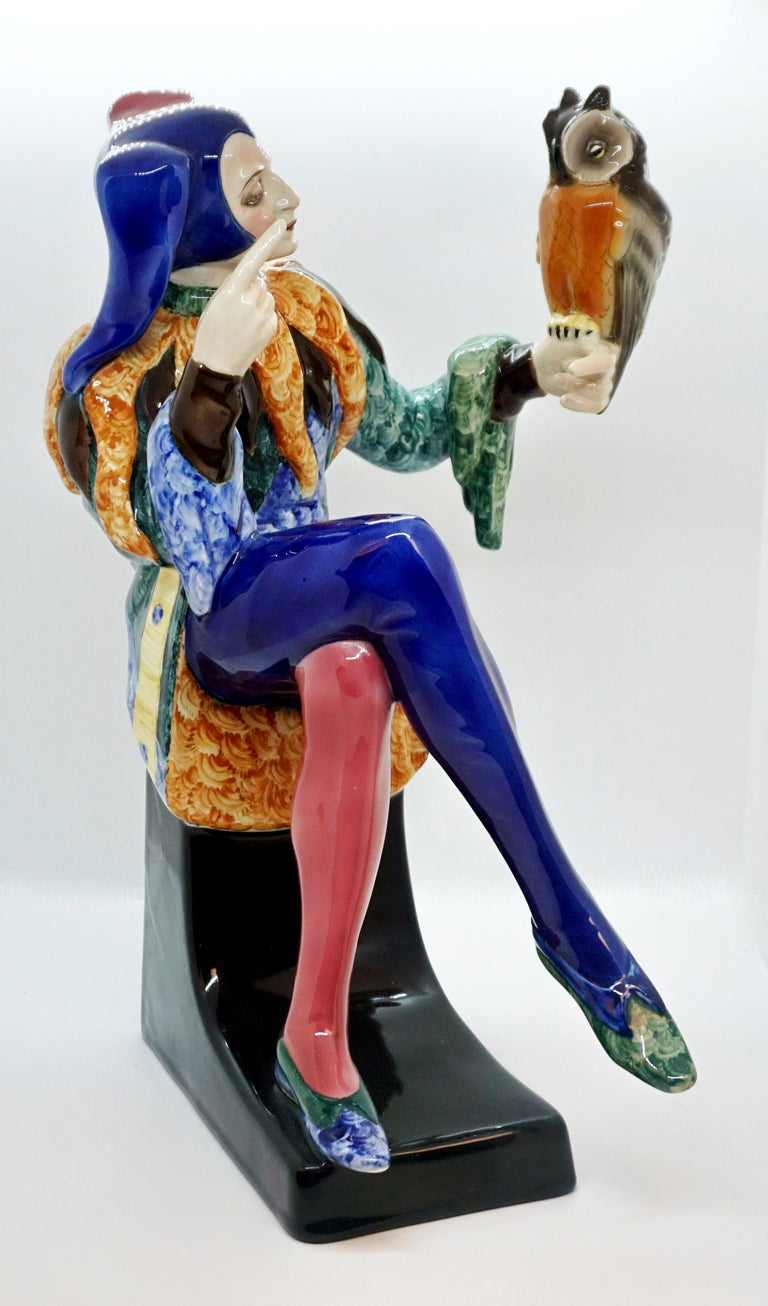 Exceptional Art Déco Goldscheider Figurine by Josef Lorenzl  Designed by Josef LORENZL (1892 - 1950), one of the most important designers having been active for Goldscheider manufactory in the period of 1920 - 1940. Model 5509 was created
