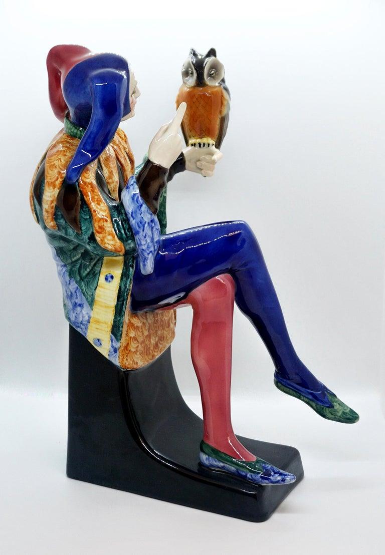 Art Deco Goldscheider Vienna Till Eulenspiegel Owlglass by Josef Lorenzl   Height 35.0 cm For Sale