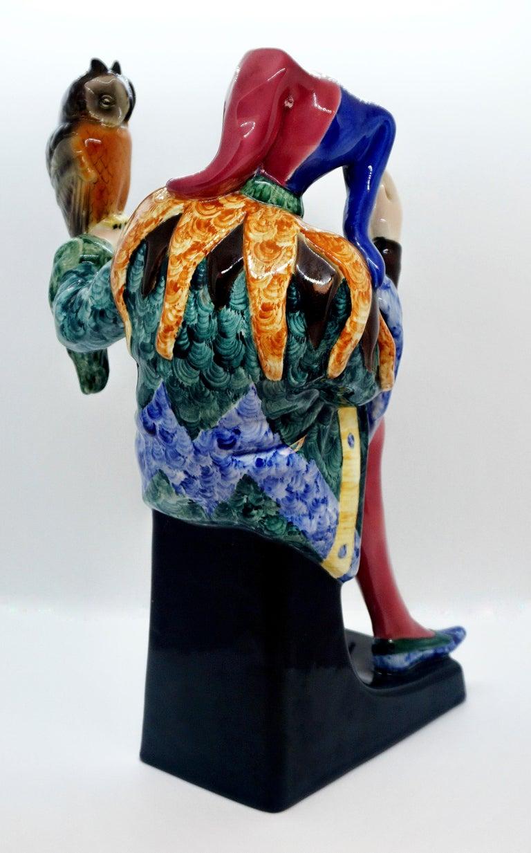 Hand-Crafted Goldscheider Vienna Till Eulenspiegel Owlglass by Josef Lorenzl   Height 35.0 cm For Sale