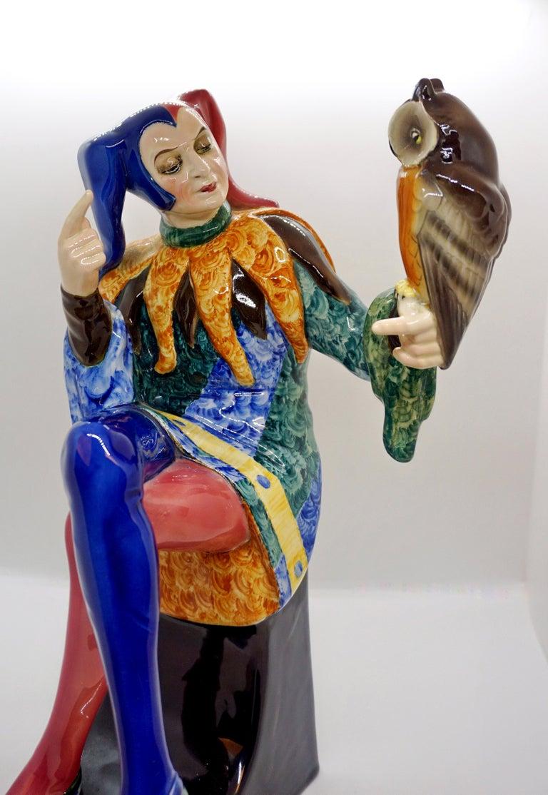 Ceramic Goldscheider Vienna Till Eulenspiegel Owlglass by Josef Lorenzl   Height 35.0 cm For Sale