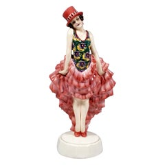 Goldscheider Vienna Vaudeville Lady Dancer with Top Hat by Josef Lorenzl