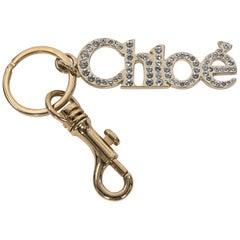 Goldtone Chloe Crystal-Embellished Logo Keychain