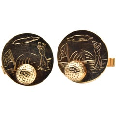 Golf Ball Cufflinks 14 Karat Yellow Gold