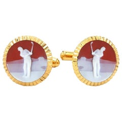 Gold-Plated Sterling Silver Red Chalcedony Golf Carving Rolex Design Cufflinks