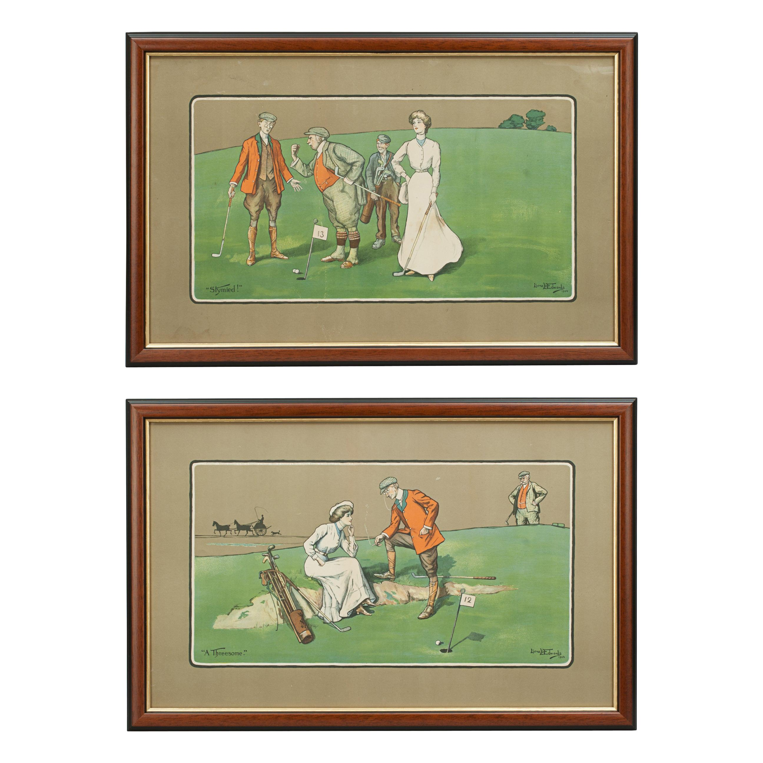 Golf Chromolithographs by Lionell Edwards, a Threesome & Stymied