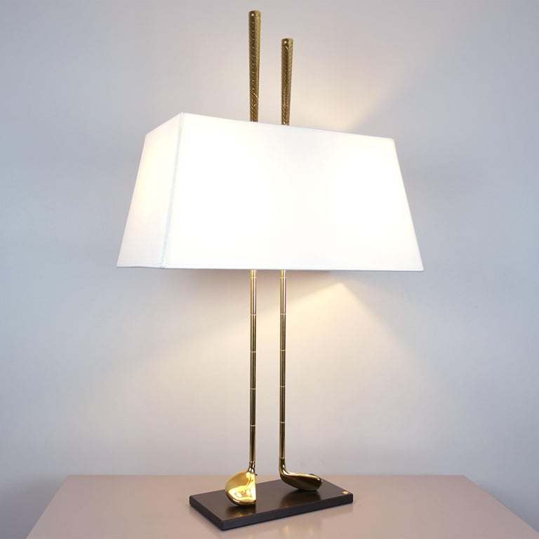 French Golf Club Table Lamp in Polished Brass Finish For Sale