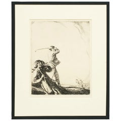 Golf Etching, on the Tee by Ernest Herbert Whydale