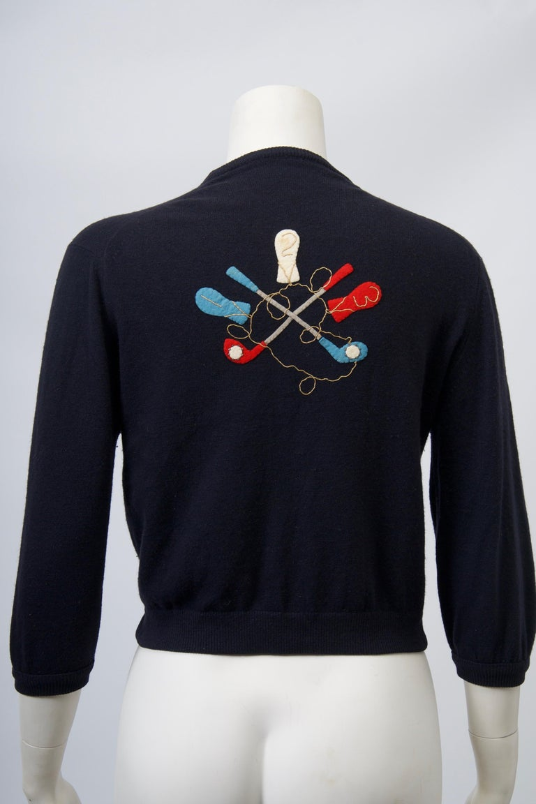 Golf Motif Cashmere Cardigan For Sale 1