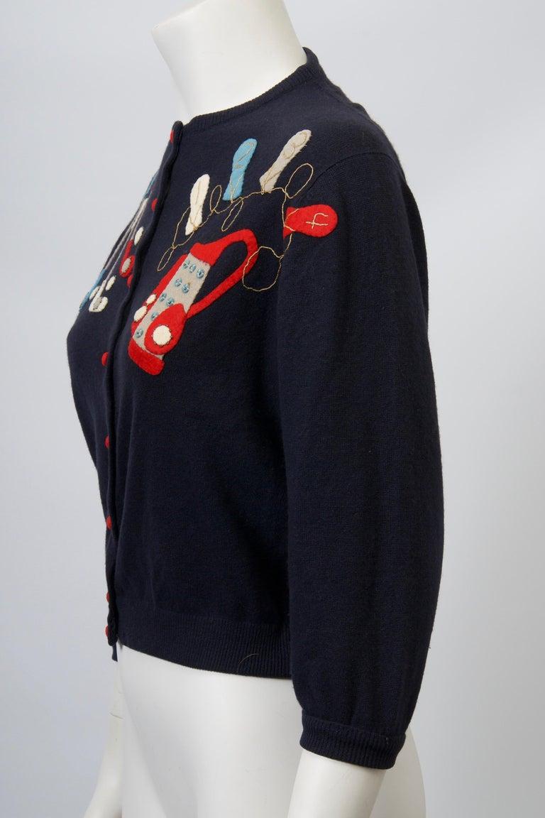 Golf Motif Cashmere Cardigan For Sale 3