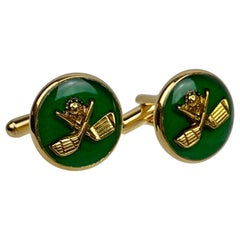 """A vintage Pair of Cufflinks For the Golfer with Green Enamel and """"T"""" backs-"""