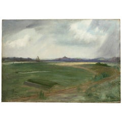 Golf Painting, Rye Golf Club, Rye Harbour from the 3rd Tee