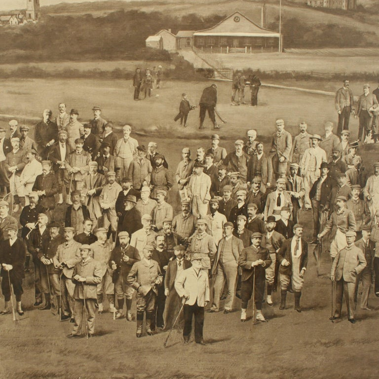 Royal North Devon Golf Club 1893 by Mayall & Co. Ltd. A great image of the members of the 'Royal North Devon Golf Club, Westward Ho!' from 1893. The figures are all photographs superimposed onto a painted background of the course. In the margin is