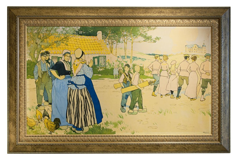 Antique golf poster. A large continental advertising poster for Coq sur Mer, De Haan, Belgium. 1897. The image is in a faded condition, but this is an extremely impressive picture. The picture depicts a group of golfers off to play golf with their