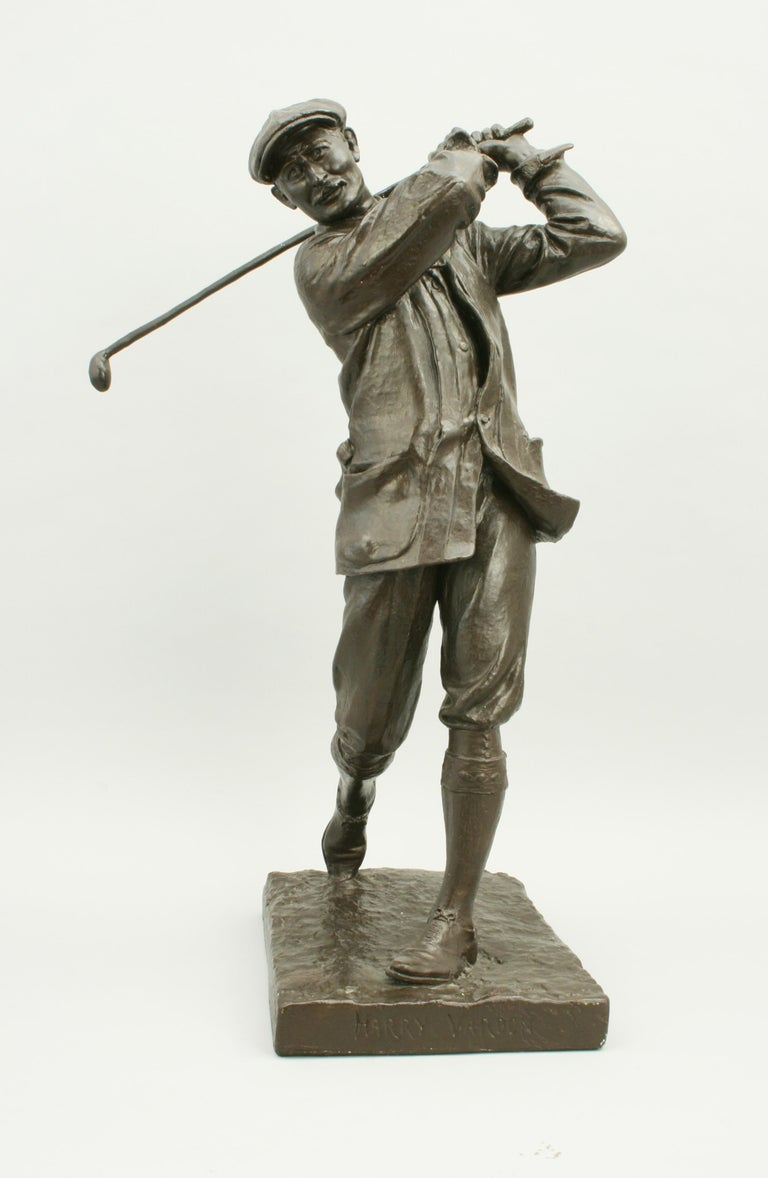 Vintage golfing figure of Harry Vardon. A wonderfully sculpted figure of the Champion Golfer Harry Vardon by Hal Ludlow. This statue is made of plaster and has been given a painted finish to look like bronze. The base is marked with 'Harry Vardon'