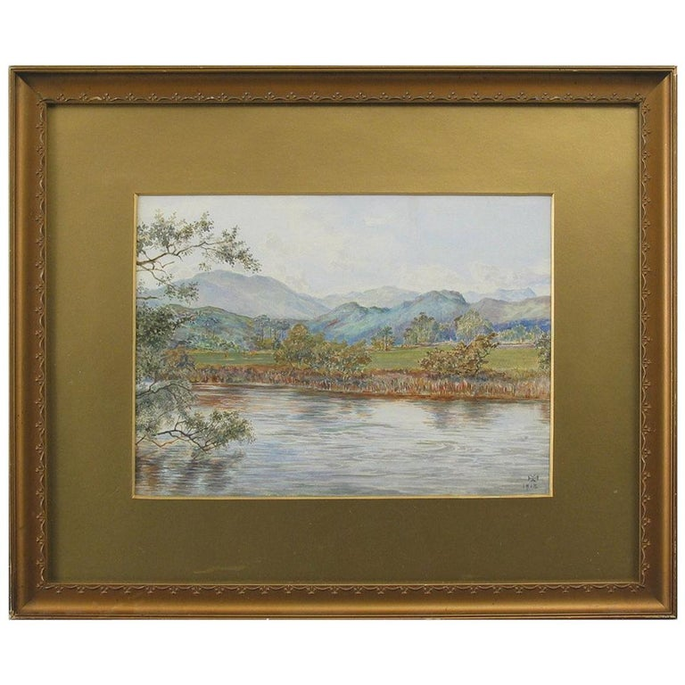 """Golf Watercolor Painting """"On the Feish"""" Perthshire by V. Astley For Sale"""